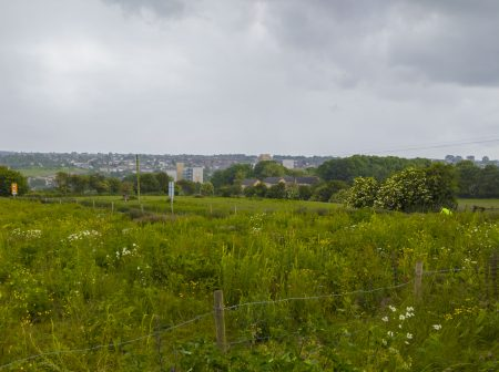 A panoramic view of the Tong Valley from near Black Carr Woods with Holmewood in the background